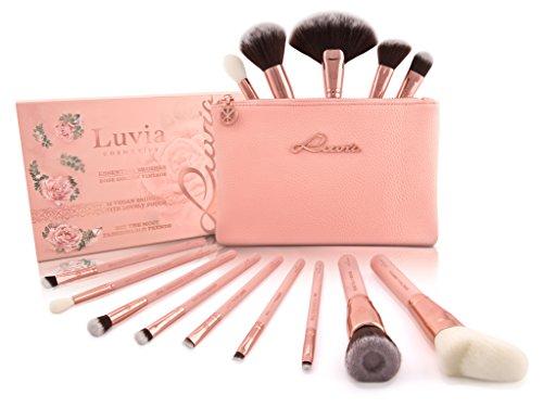 Luvia Makeup Pinsel Set inkl. Kosmetiktasche für Schminke - Rose Golden Vintage Make-Up Brush Set – 14 Profi Kosmetikpinsel/Schminkpinsel in Nude/Rosegold - Geschenkidee - Vegane Kosmetik/Schminke