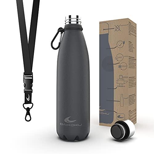 Daikoku Bottiglia in acciaio inossidabile + cinturino regolabile + moschettone, Thermos a doppia parete senza BPA, bottiglia d'acqua riutilizzabile/sostenibile, tappo ermetico... (500 ML, Grigio )