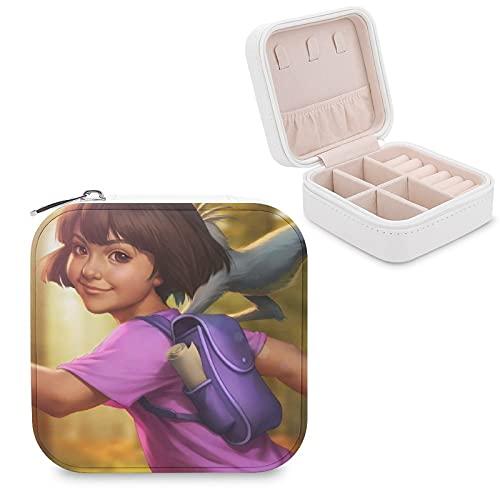 Dora The Explorer - Joyero de piel sintética para viajes, portátil, para collares, pendientes, pulseras, anillos, relojes, expositores, cajas de joyería para mujeres