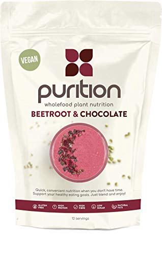 Purition Vegan Beetroot & Chocolate Natural Protein Powder for Keto Diet Shakes and Meal Replacements Shakes with Only Natural Ingredients, 1 Bag (12 Servings)