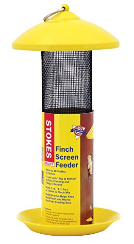 Stokes Select 38171 Finch Screen Bird Feeder with Metal Roof, Yellow, 1.1 lb Seed Capacity