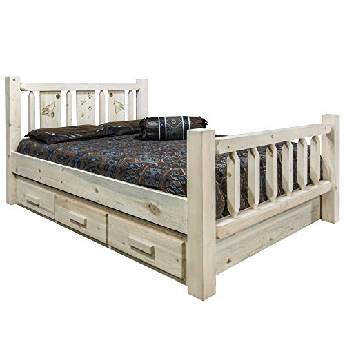 Fantastic Deal! Montana Woodworks Wolf Design Storage Laser Engraved Bed in Clear Lacquer Finish (Ca...