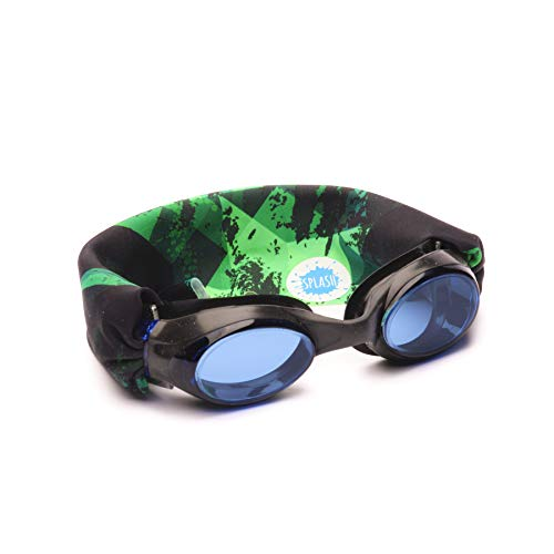 Splash Swim Goggles - Green Fusion - Fun, Fashionable, Comfortable - Fits Kids and Adults - Won't Pull Your Hair - Easy to Use - High Visibility Anti-Fog Lenses - Original Patent Pending Design