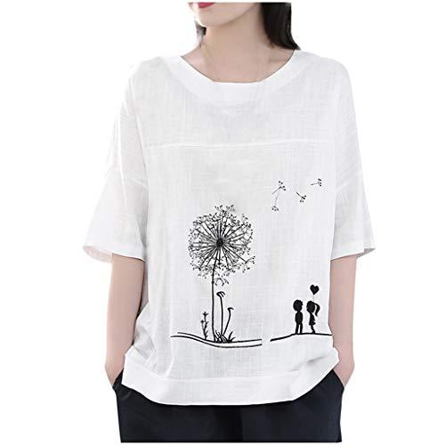Damen Sommer Herbst T-Shirt O-Ausschnitt Kurzarm Lose Beiläufige Frauen Sexy Bedruckt Stretch Jahrgang Weste Tee Baumwolle Leinen Große Lose Bluse Tops (EU:38, Weiß)