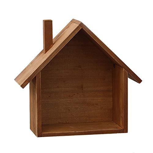 ZYDJ Wandrek American Country Retro Rack voor kleine huisjes, 24 x 24,5 cm, bruin