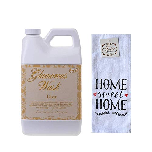 Designs by Ellis Tyler Candle Co. Diva Glamorous Wash Bundled with Tyler Towels Home Sweet Home Hand Towel (Half Gallon)