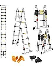 Telescoopladder, 5 m, uittrekbaar, aluminium ladder, 8 x 2 treden, multifunctionele ladder, 150 kg, belastbaarheid met 2 wielen