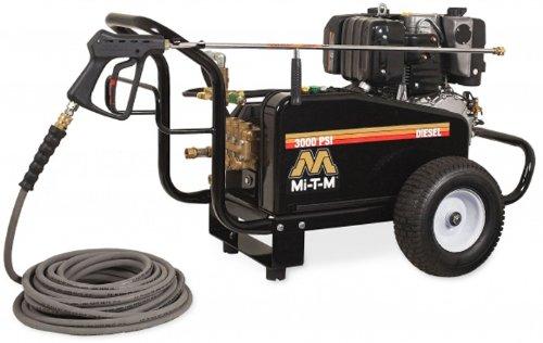 diesel powered pressure washers Mi-T-M CW-3004-0MKD CWC Series Diesel Cold Water Belt Drive, 9.8 HP Motor Kohler Electric Start Diesel Engine, 3000 PSI Pressure Washer