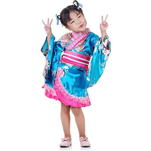 Japan Mädchen Asia Kostüm Kinder Geisha Cosplay Kimono Kleid Faschingskostüm (Türkis)