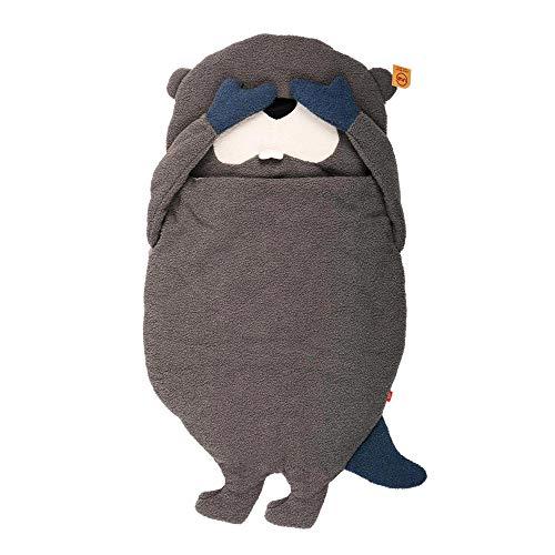 UNUS Biber Schlafsack für Kinder, Kuscheldecke für Mädchen und Jungen, Kinderschlafsack, Warmer Deckenschlafsack, 120x75cm, braun