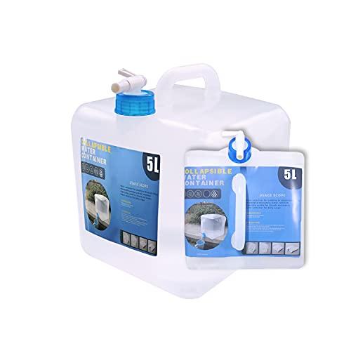 PACOLO - Recipiente de agua plegable con grifo, jarra de soporte de almacenamiento de agua de camping para kit de supervivencia 5/10/15/20L (20 litros, 1 paquete)