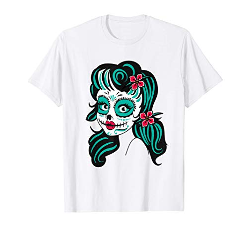 Sugar Skull Día de los Muertos México Calaveras Mujer Tattoo Camiseta