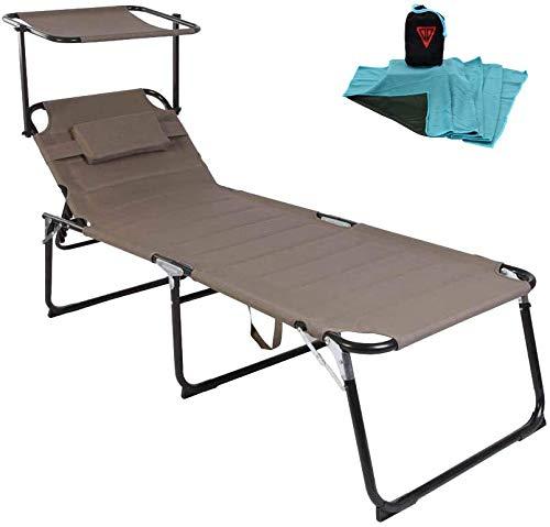 WildStage Aluminium Sonnenliege XXL klappbar mit Dach bis 150 kg Klappliege 5-Fach verstellbar Dreibeinliege Gartenliege extra hoch mit Sonnendach 200x70x45 cm beige