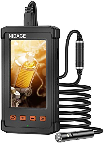 NIDAGE Dual Lens Industrial Endoscope, Pipe Drian Duct Inspection Camera, 1080P Watreproof Borescope, Sewer Camera with 4.3inch IPS Screen, 32GB Card, 7 Led Lights(16FT)
