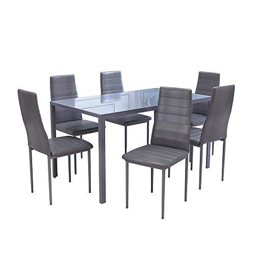 OUTDOOR DOIT Hochglanz-Esstisch-Set mit 6 PU-Ledersesseln Moderne Küche Esstisch Esszimmermöbel (Grau, 140)