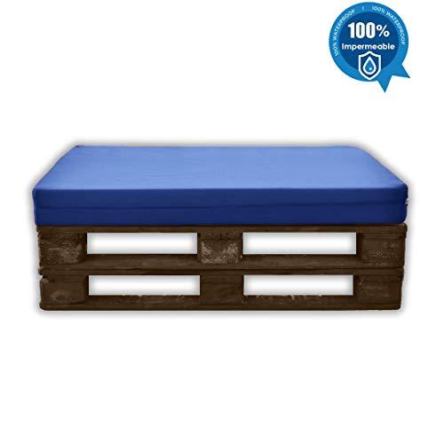 MICAMAMELLAMA Asiento para Sofá de Palet Exterior e Interior - Funda Náutica Azul - Espuma HR Alta Densidad - Grosor 12cm
