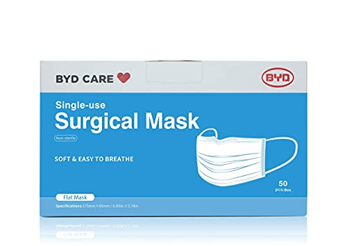 BYD CARE Single Use Disposable 3-Ply Surgical Mask, ASTM Level 2, Made of 3 Layers of Non-woven Fabric with Adjustable Nose Clip and Elastic Ear Loop, Soft and Breathable, Daily protection for men and women for Home, Office, School, Restaurants, Gyms, Outdoor and Indoor, Box of 50 Pieces
