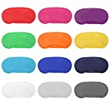 12pcs Assorted Color Polyester Sleep Eye Masks Soft Blindfold Eye Shade Cover with Nose Pad and Elastic Straps Best for Kids Women Men Travel Sleep or Games Party Supplies (Random Color)