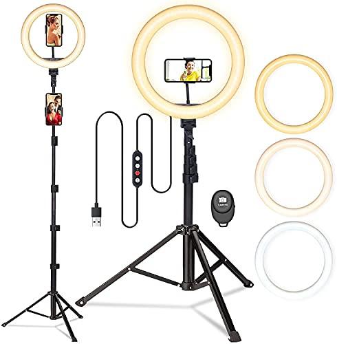 Ringlicht mit Stativ, Dimmbare Selfie ringleuchte mit stativ, Handyhalter und Fernbedienung für Handy, Ringlicht für Tik tok, Live-Stream, Makeup, YouTube
