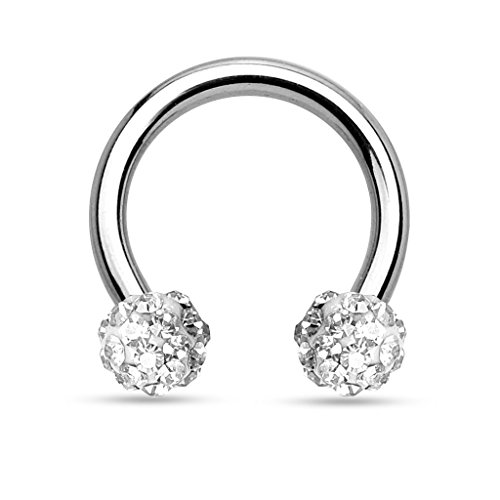 Kultpiercing - Hufeisen Piercing Ring Horseshoe Circular Barbell Ohr Nase Lippe Kristall Ferido 1,2 x 10 x 4 Klar