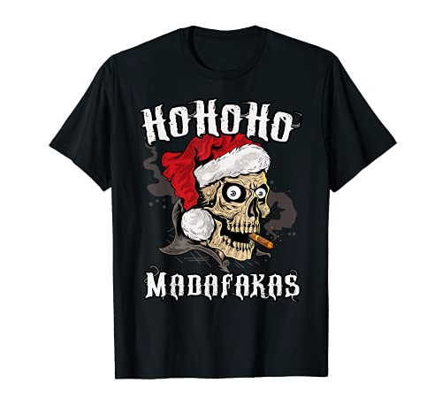 Navidad Craneo Rockero Muerte Madafakas Papa Noel Camiseta