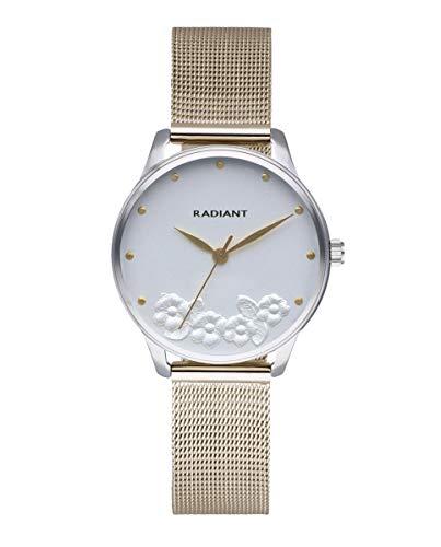 Reloj analógico para Mujer de Radiant. Colección Metal&Roses. Reloj Bicolor Plateado y Dorado con Malla milanesa y Esfera Blanca con Flores en Relieve. 3ATM. 36mm. Referencia RA548602.