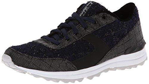 Sam Edelman Dax,  Sneakers Basses Femme - Bleu (black / Navy Boucle / Nubuck Croco), 37 EU