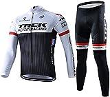 メイン素材: ポリエステル(裏起毛) 防風、保温機能を同時に実現できます。 上着の裾部分が高品質のシリコン製バンドが採用され、伸び感がよく、フィット感と滑り止め効果も抜群です。 デザイン:秋冬男性サイクルジャージ上下セットはあります。前傾姿勢や腕を前に伸ばすスポーツバイクを考慮し、背中を長く、肩周りをストレッチに作られています。 風で服がバタつかないように身体にフィットする設計も素晴らしい、実際に着て走るとその使い勝手の良さ・フィット感に驚きます。サイクルジャージには背中にポケットついています。...