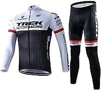 Teorray高弾力 サイクルジャージ上下セット 男性用自転車サイクルウェア 長袖 吸汗速乾 秋冬 通気と裏起毛 二仕様用上下セッド
