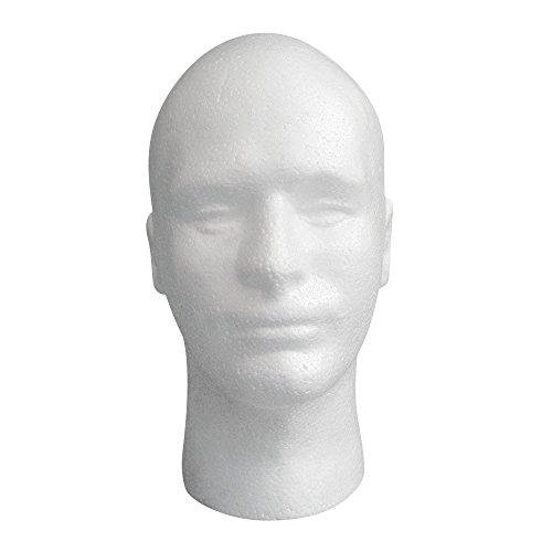 Covermason Homme Tête de Mannequin en Mousse de polystyrène Mannequin mâle Modèle Perruque Lunettes Chapeau Support de présentation