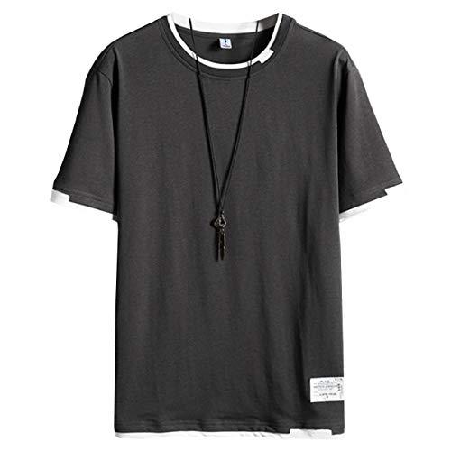 [ブロマーズ] Tシャツ 半袖 夏 プリントTシャツ トップス カジュアル メンズ ティーシャツ 夏服 黒 白 インナー シンプルメンズ ティーシャツ 夏服 黒 白 インナー シンプル ベーシック 韓国シャツ 韓国ファッション 大きいサイズ ストリート系 オーバーサイズ 薄手 厚手 グレー XL