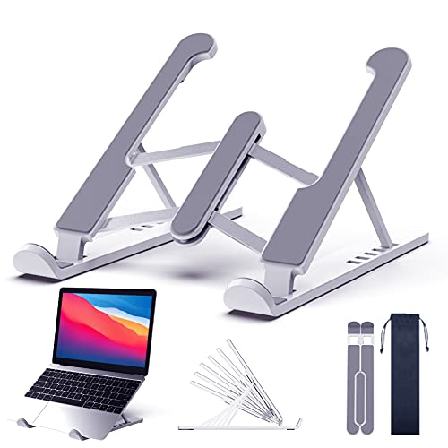 Laptop Stand Desk Adjustable Portable Riser Laptop Holder for Desk Foldable Design with 6 Angles Height Non-slip Foldable Ventilated Cooling Notebook Stand for MacBook, Lenovo, Sony, Dell, More 11-17'