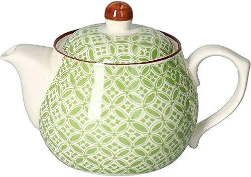 Ritzenhoff & Breker Teekanne weiß grün Gemustert Modell Lime Sao I Teepott 500 ml I feines Porzellan Tee Kännchen Gastronomie I Tee- und Kaffeekanne bauchig I Geschenk Tee Kanne mit Deckel 0,5 l