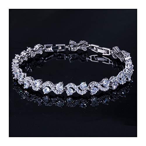 Xpwoz Pulsera de Cristal de circonia cúbica para Regalos de joyería de Mujer (Color : Silver White)