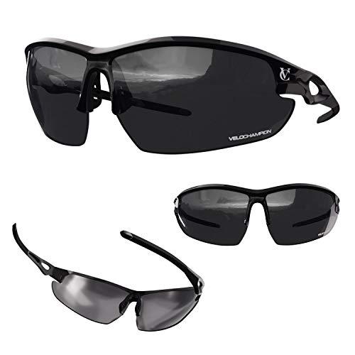 VeloChampion Tornado - Gafas de Sol con 3 Juegos de Cristales Intercambiables y Funda. Negro.