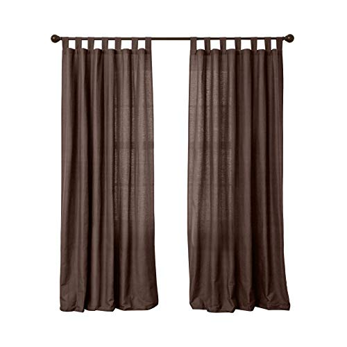 BrylaneHome Cotton Canvas Tab-Top Panel - 48I W 96I L, Chocolate
