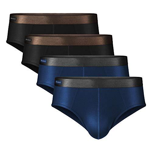 DAVID ARCHY 4er Pack Herren Slip/Boxershorts/Unterwäsche, Weich, Hautfreundlich und Luftdurchlässig, mit Dippelbeutel und Eingriff, aus Bambusfaser, S M L XL XXL (L, 09B, Schwarz*2 + Dunkelblau*2)