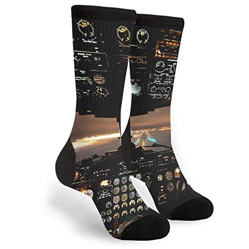 Airplans Pilot And Physics Men's Unisex Novelty Crew Socks Funny Crazy Dress Socks