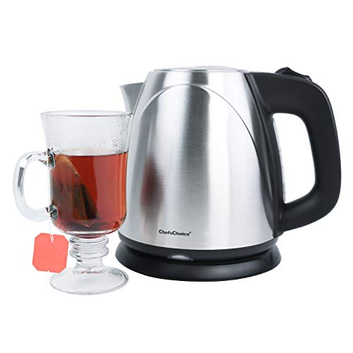 ChefsChoice 673 Cordless Compact Electric Kettle in Brushed Stainless Steel Features Boil Dry Protection and Auto Shut Off Easy Pour, 1-Liter, Silver