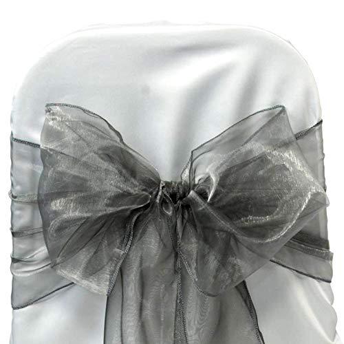 VDS Set of 250 Elegant Organza Wedding Chair Sashes / Bows for wedding Party Banquet Decor - Ribbon Tie Back Sash bow – Silver gray