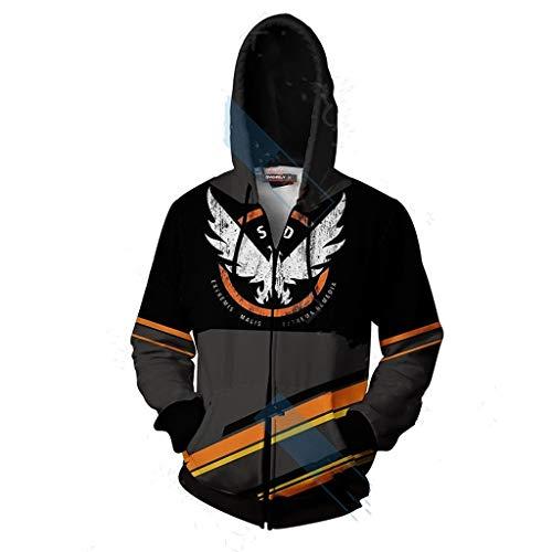 Shuihua - Kapuzenpullover Tom Clancy ist Die Division 2 Cosplay Hoodie, 3D-Spiel Druck Hoody Zipper-Jacke (Color : Black, Size : XXL)