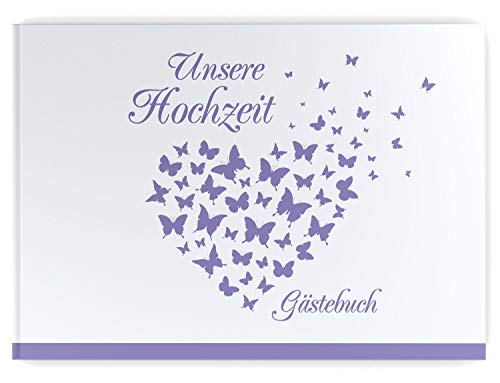 Gästebuch Hochzeit - Hardcover, ohne Fragen, A4 quer, Butterfly Heart (flieder/lila)