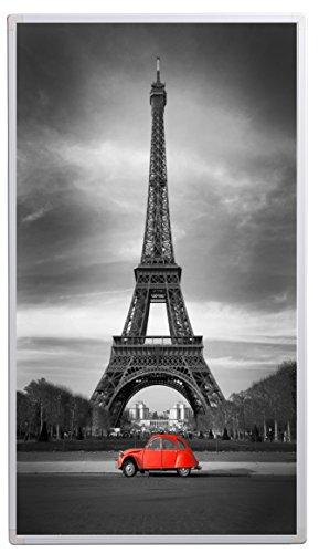 Könighaus Bildheizung (Infrarotheizung mit hochauflösendem Motiv) 5 Jahre Garantie (800-Eiffelturm Schwarz-Weiß & roter Ka)