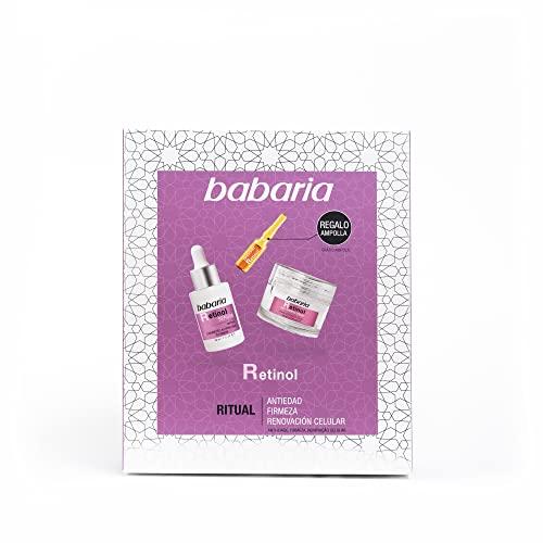 Babaria Pack Facial Retinol Compuesto por 1 Serum Retinol 30Ml, 1 Crema Facial Retinol 50Ml y 1 Ampolla Flash Facial Retinol 2Ml
