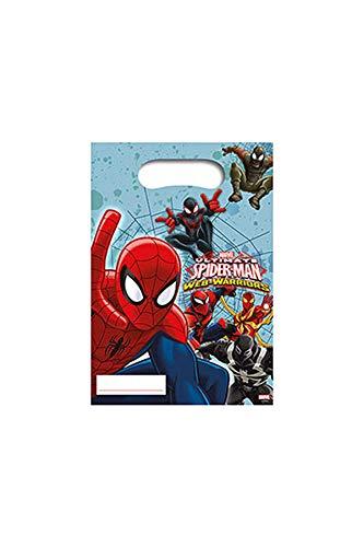 Procos- Marvel 85156 – Lot de 6 sachets de fête Spiderman Web Warriors pour Anniversaire d'enfant, Multicolore, Costumes
