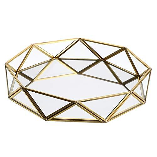 Sumnacon - Bandeja de Metal con Espejo y Cristal para Maquillaje, Organizador de Joyas, Bandeja para Prisma (Grande), Color Dorado