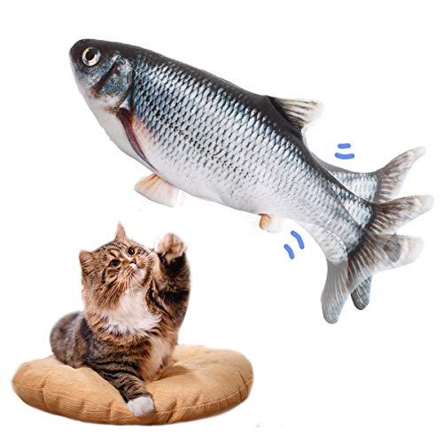 LIUMY Hierba gatera Eléctrica Juguete Pez para Gato,Peluche de juguete eléctrico de simulación Fish Fish con carga USB,Mascotas Interactivo de Felpa Pez para morder, Masticar, patear y Dormir ⭐