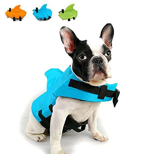 Snik-S Dog Life Jacket- Preserver with Adjustable Belt, Pet Swimming Shark Jacket for Short Nose Dog,Upgrade Version (Pug,Bulldog,Poodle,Bull Terrier) (M, Blue)