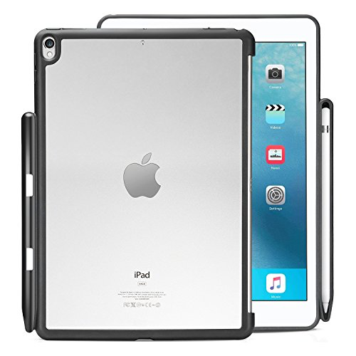 KHOMO iPad Air 3 10.5 (2019) / iPad Pro 10.5 (2017) Rear Case with Pencil 1 Holder, Compatible with Smart Cover / Keyboard - Transparent and Black