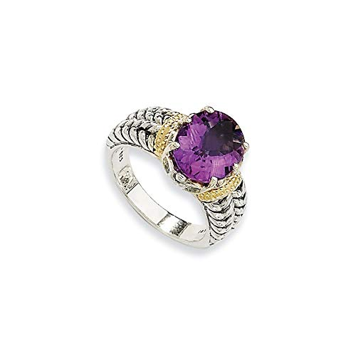 Acabado de plata de ley 925 con anillo de amatista de 14 quilates de 3,30 talla L 1/2 para mujer.
